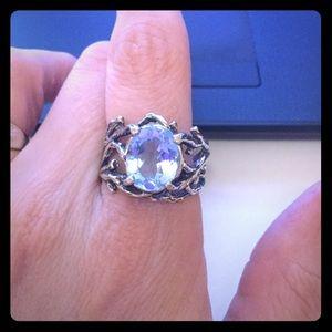 🌷Isarel Silver Light Swiss Blue Topaz Ring🌷